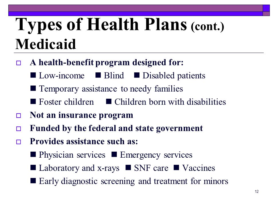 11 Types of Health Plans (cont.) Medicare Managed Care Plans Medical care is managed by a primary care physician (PCP) A small co-payment for each vis
