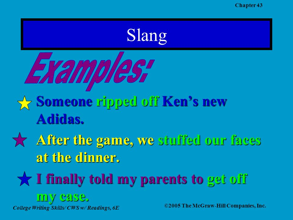 College Writing Skills/ CWS w/ Readings, 6E ©2005 The McGraw-Hill Companies, Inc. Chapter 43 Slang Someone ripped off Kens new Adidas. After the game,