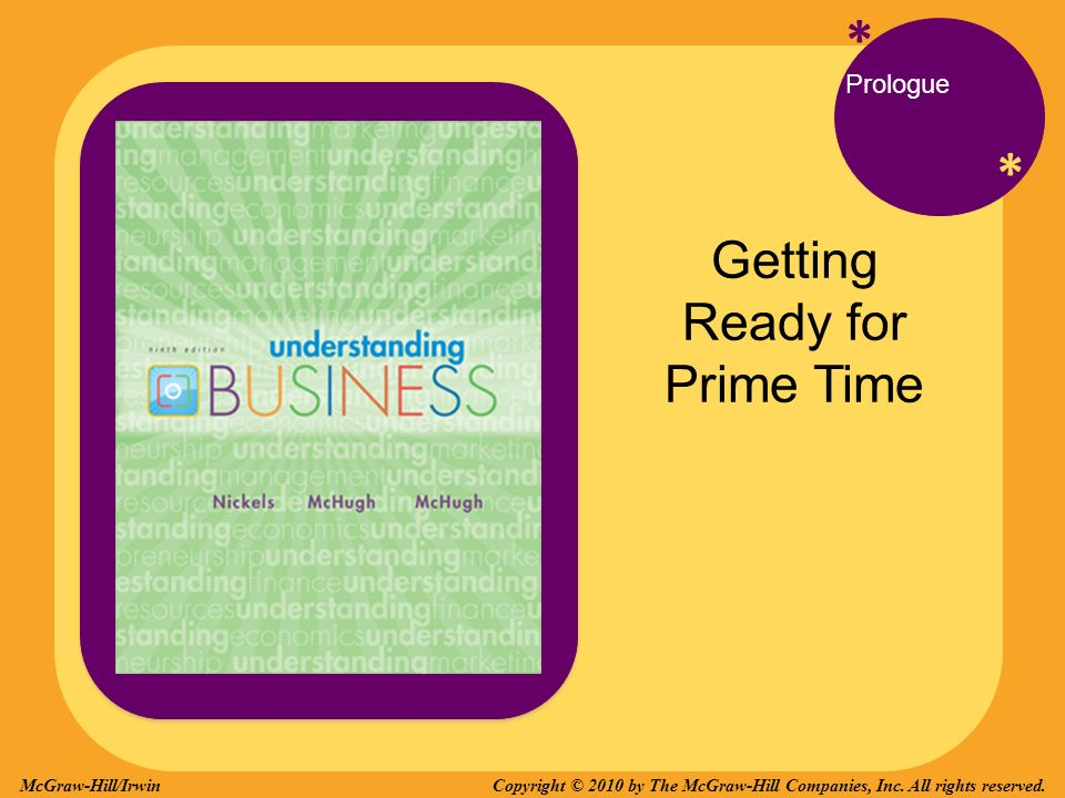 * * Prologue Getting Ready for Prime Time Copyright © 2010 by The McGraw-Hill Companies, Inc.
