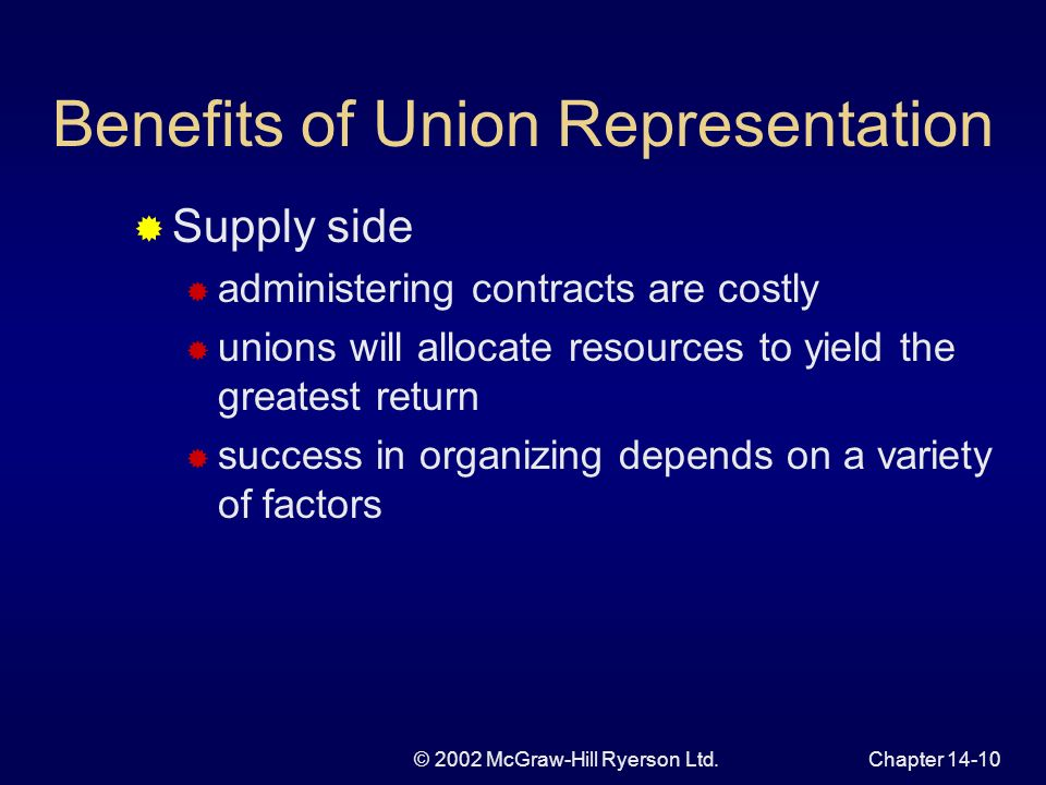 © 2002 McGraw-Hill Ryerson Ltd.Chapter 14-10 Benefits of Union Representation Supply side administering contracts are costly unions will allocate resources to yield the greatest return success in organizing depends on a variety of factors