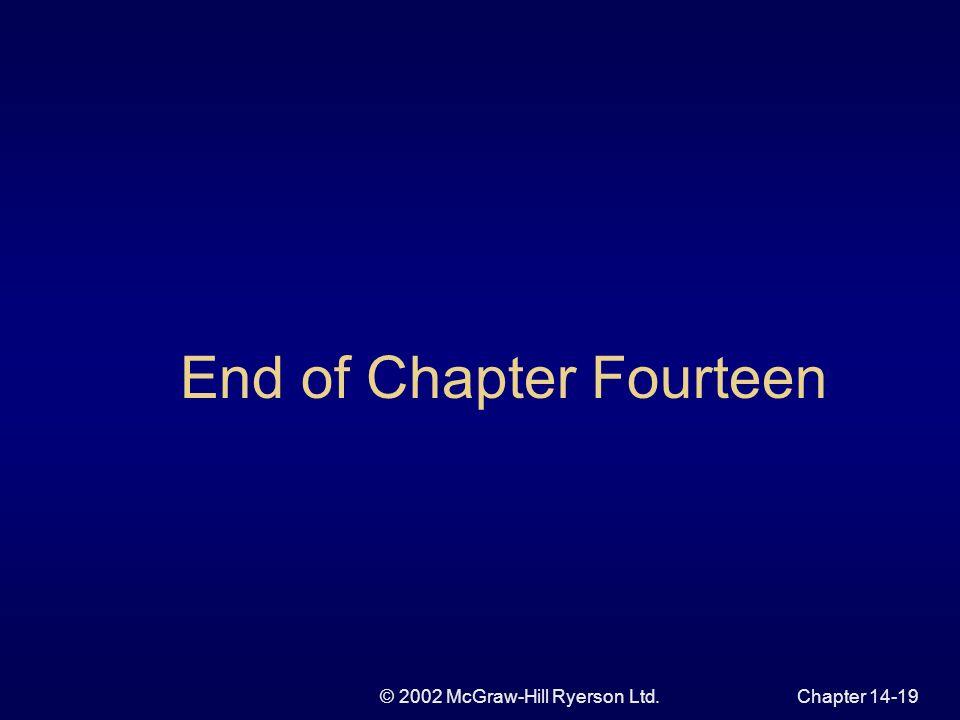 © 2002 McGraw-Hill Ryerson Ltd.Chapter 14-19 End of Chapter Fourteen