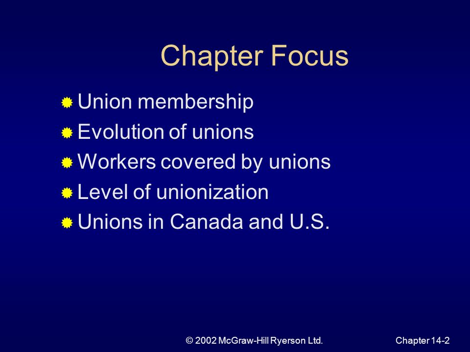 © 2002 McGraw-Hill Ryerson Ltd.Chapter 14-2 Chapter Focus Union membership Evolution of unions Workers covered by unions Level of unionization Unions in Canada and U.S.