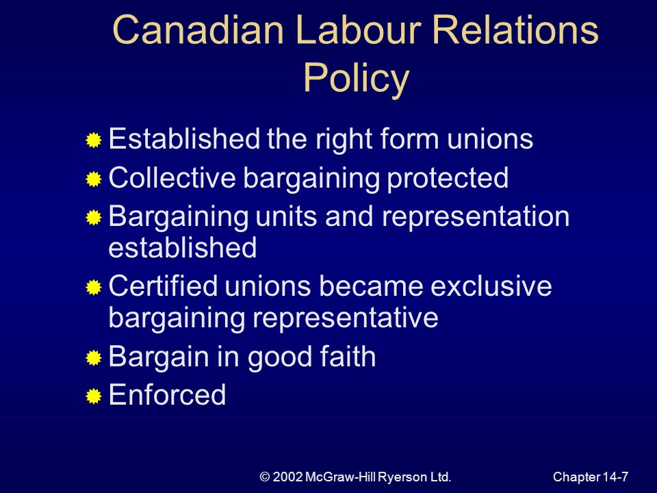 © 2002 McGraw-Hill Ryerson Ltd.Chapter 14-8 Factors Influencing Union Growth and Incidence Substantial but erratic growth Union density higher than U.S., France, Japan lower than Scandinavian countries declined from 1980-1994 Collective Agreement Coverage lower than the OECD countries exceeds Japan,New Zealand,U.S.