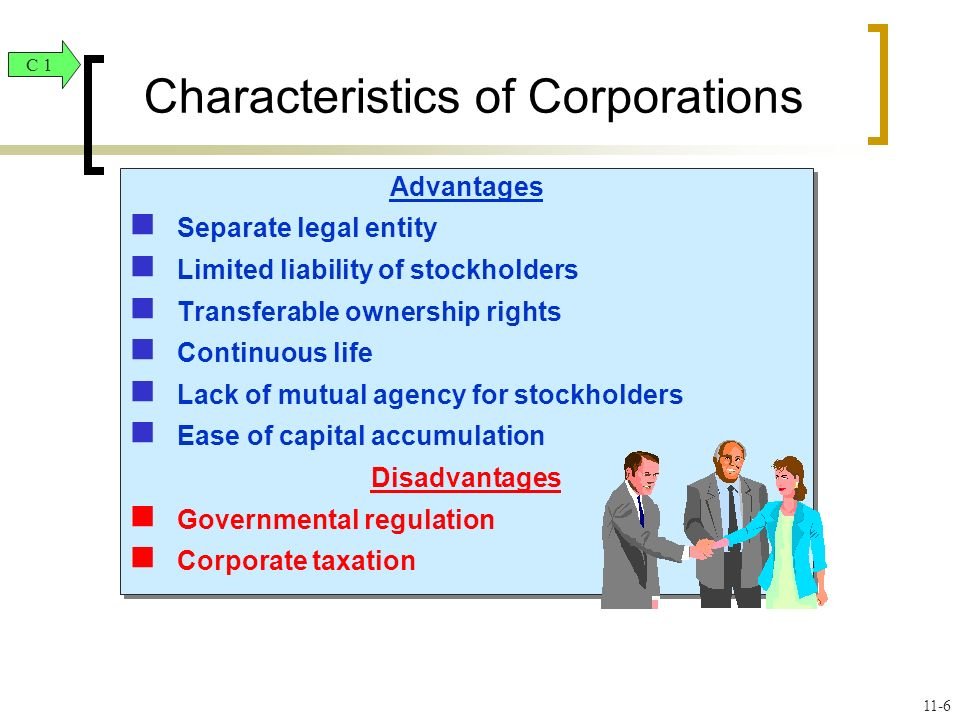 Advantages Separate legal entity Limited liability of stockholders Transferable ownership rights Continuous life Lack of mutual agency for stockholders Ease of capital accumulation Disadvantages Governmental regulation Corporate taxation Advantages Separate legal entity Limited liability of stockholders Transferable ownership rights Continuous life Lack of mutual agency for stockholders Ease of capital accumulation Disadvantages Governmental regulation Corporate taxation Characteristics of Corporations C 1 11-6
