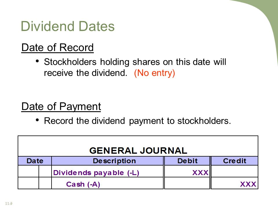 11-9 Date of Record Stockholders holding shares on this date will receive the dividend. (No entry) Dividend Dates Date of Payment Record the dividend