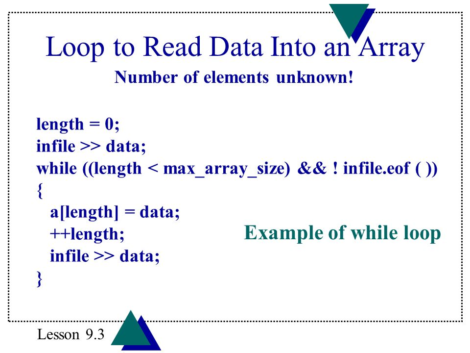 Loop to Read Data Into an Array length = 0; infile >> data; while ((length < max_array_size) && ! infile.eof ( )) { a[length] = data; ++length; infile