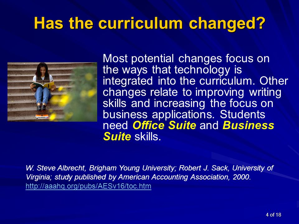 4 of 18 Has the curriculum changed.