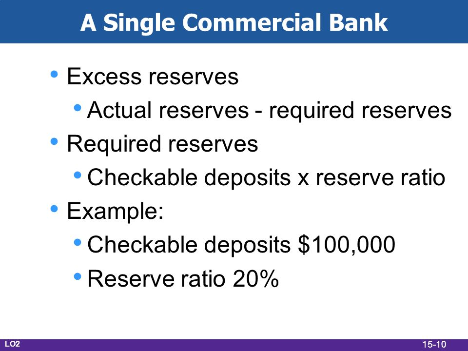 15-10 A Single Commercial Bank Excess reserves Actual reserves - required reserves Required reserves Checkable deposits x reserve ratio Example: Checkable deposits $100,000 Reserve ratio 20% LO2