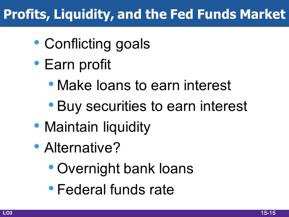 15-15 Profits, Liquidity, and the Fed Funds Market Conflicting goals Earn profit Make loans to earn interest Buy securities to earn interest Maintain liquidity Alternative.