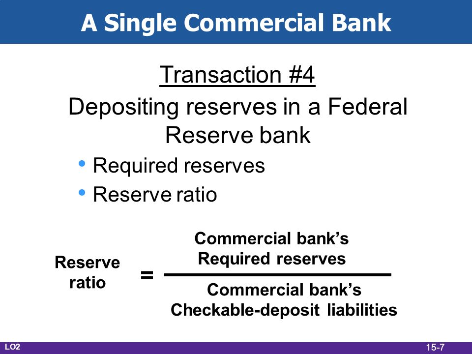15-7 A Single Commercial Bank Transaction #4 Depositing reserves in a Federal Reserve bank Required reserves Reserve ratio Reserve ratio = Commercial banks Required reserves Commercial banks Checkable-deposit liabilities LO2
