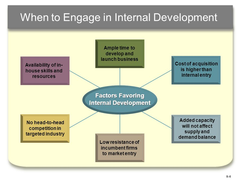 8–68–6 When to Engage in Internal Development Availability of in- house skills and resources Ample time to develop and launch business Cost of acquisi