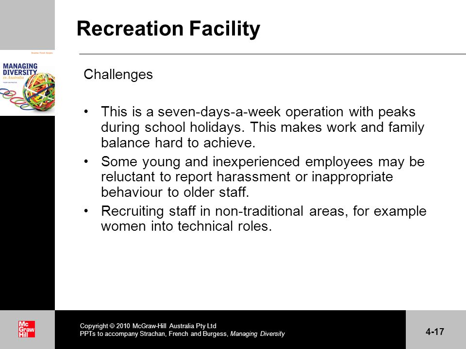 Recreation Facility Challenges This is a seven-days-a-week operation with peaks during school holidays.