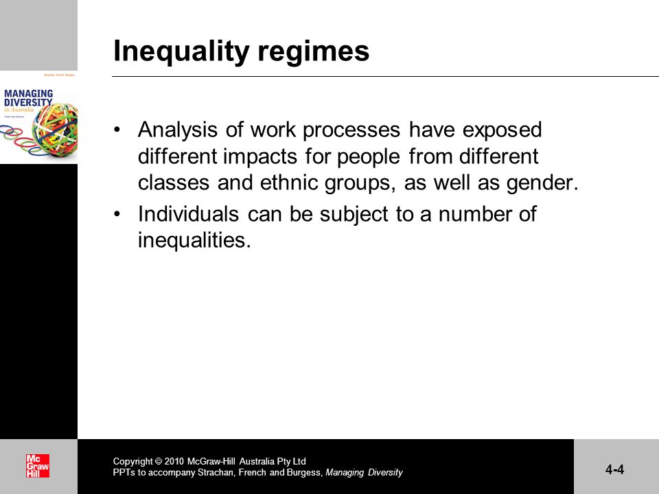 Inequality regimes Analysis of work processes have exposed different impacts for people from different classes and ethnic groups, as well as gender.