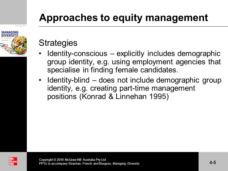 . Approaches to equity management (cont.) Policy types Temperamental policies – address individual disadvantage Role-related policies – acknowledge differences in social roles and their impact at the workplace Social structural policies – concerned with the organisation of work and organisational structures (Kanter 1976) Opportunity and support policies – assist women/minorities in their roles/occupations (French & Maconachie 2004; Sheridan 1998) Copyright 2010 McGraw-Hill Australia Pty Ltd PPTs to accompany Strachan, French and Burgess, Managing Diversity 4-6