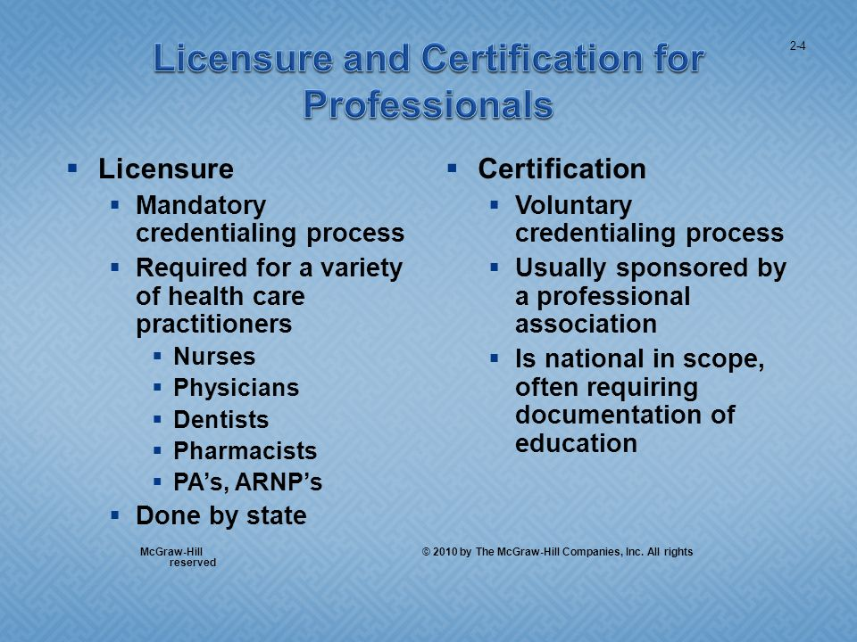 Licensure Mandatory credentialing process Required for a variety of health care practitioners Nurses Physicians Dentists Pharmacists PAs, ARNPs Done by state Certification Voluntary credentialing process Usually sponsored by a professional association Is national in scope, often requiring documentation of education 2-4 McGraw-Hill © 2010 by The McGraw-Hill Companies, Inc.
