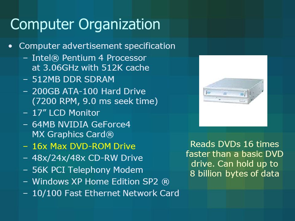 Computer Organization Computer advertisement specification –Intel® Pentium 4 Processor at 3.06GHz with 512K cache –512MB DDR SDRAM –200GB ATA-100 Hard Drive (7200 RPM, 9.0 ms seek time) –17 LCD Monitor –64MB NVIDIA GeForce4 MX Graphics Card® –16x Max DVD-ROM Drive –48x/24x/48x CD-RW Drive –56K PCI Telephony Modem –Windows XP Home Edition SP2 ® –10/100 Fast Ethernet Network Card Reads DVDs 16 times faster than a basic DVD drive.