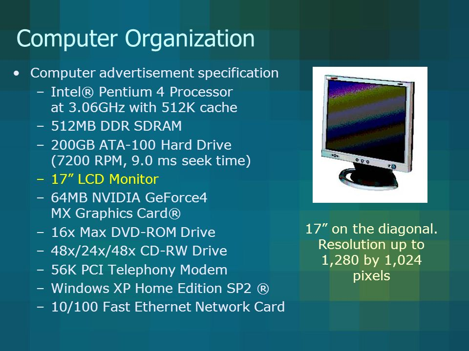 Computer Organization Computer advertisement specification –Intel® Pentium 4 Processor at 3.06GHz with 512K cache –512MB DDR SDRAM –200GB ATA-100 Hard Drive (7200 RPM, 9.0 ms seek time) –17 LCD Monitor –64MB NVIDIA GeForce4 MX Graphics Card® –16x Max DVD-ROM Drive –48x/24x/48x CD-RW Drive –56K PCI Telephony Modem –Windows XP Home Edition SP2 ® –10/100 Fast Ethernet Network Card Microprocessor for displaying images with 64 million bytes of memory.