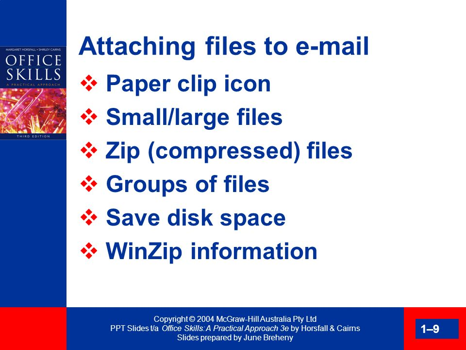 Copyright © 2004 McGraw-Hill Australia Pty Ltd PPT Slides t/a Office Skills: A Practical Approach 3e by Horsfall & Cairns Slides prepared by June Breheny 1–20 Outgoing mail Important task Corporate image Document appearance Matching envelopes