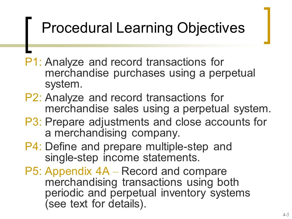 Procedural Learning Objectives P1: Analyze and record transactions for merchandise purchases using a perpetual system. P2: Analyze and record transact