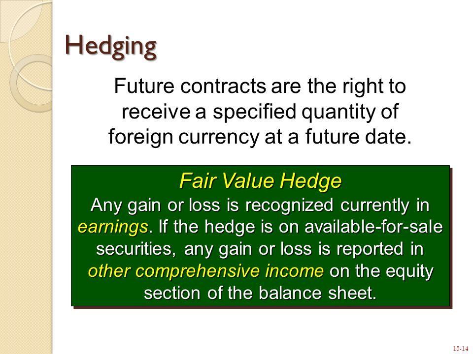 15-14 Hedging Fair Value Hedge Any gain or loss is recognized currently in earnings.