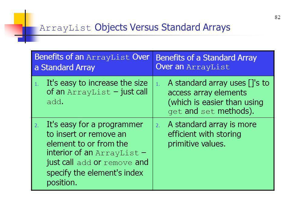ArrayList Objects Versus Standard Arrays Benefits of an ArrayList Over a Standard Array Benefits of a Standard Array Over an ArrayList 1. It's easy to
