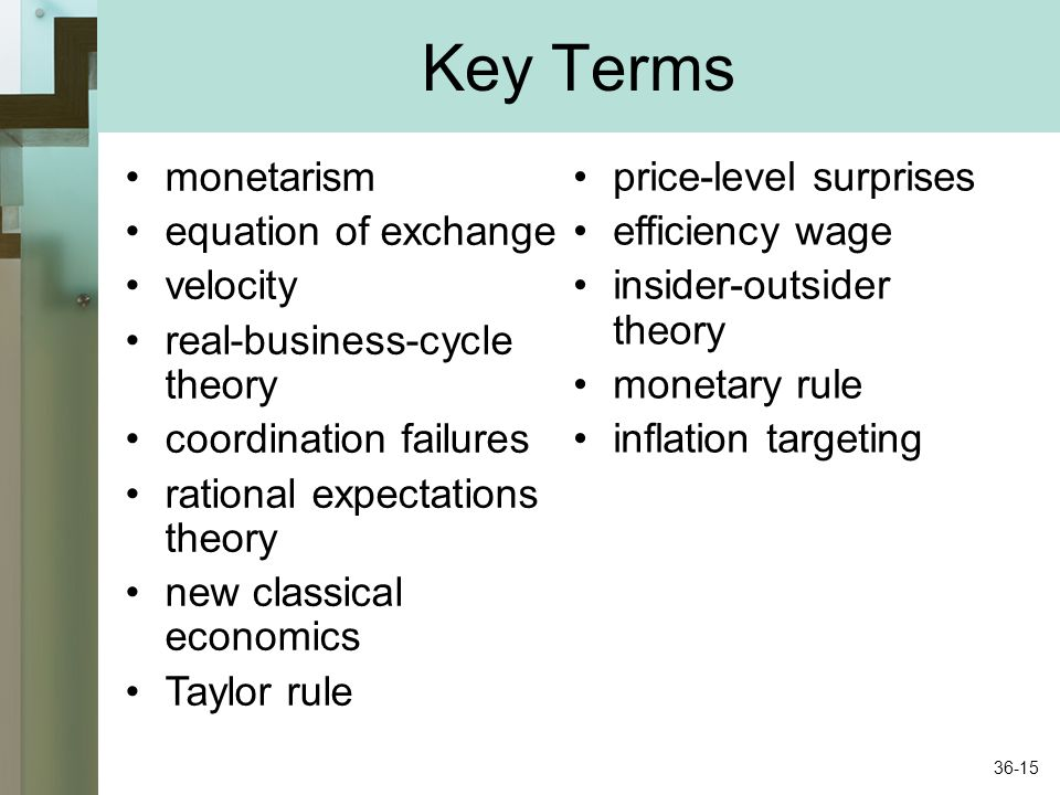 Key Terms monetarism equation of exchange velocity real-business-cycle theory coordination failures rational expectations theory new classical economi