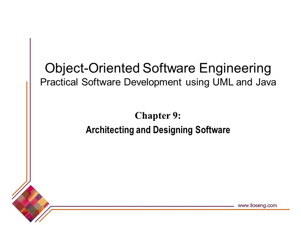 © Lethbridge/Laganière 2001 Chapter 9: Architecting and designing software12 Different aspects of design Architecture design: The division into subsystems and components, -How these will be connected.