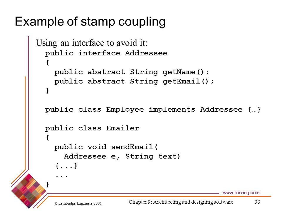 © Lethbridge/Laganière 2001 Chapter 9: Architecting and designing software33 Example of stamp coupling public interface Addressee { public abstract St