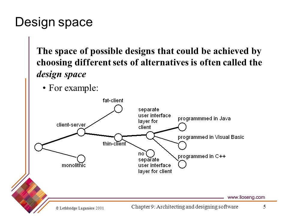 © Lethbridge/Laganière 2001 Chapter 9: Architecting and designing software46 Design Principle 10: Design for Testability Take steps to make testing easier Design a program to automatically test the software Discussed more in Chapter 10 Ensure that all the functionality of the code can by driven by an external program, bypassing a graphical user interface In Java, you can create a main() method in each class in order to exercise the other methods