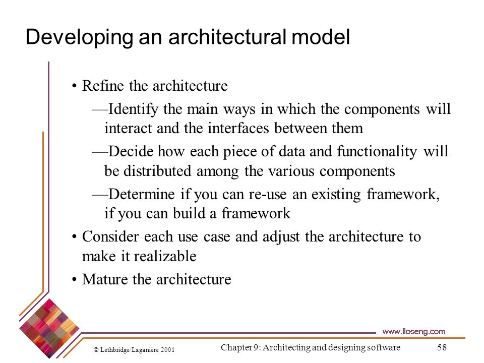 © Lethbridge/Laganière 2001 Chapter 9: Architecting and designing software58 Developing an architectural model Refine the architecture Identify the ma