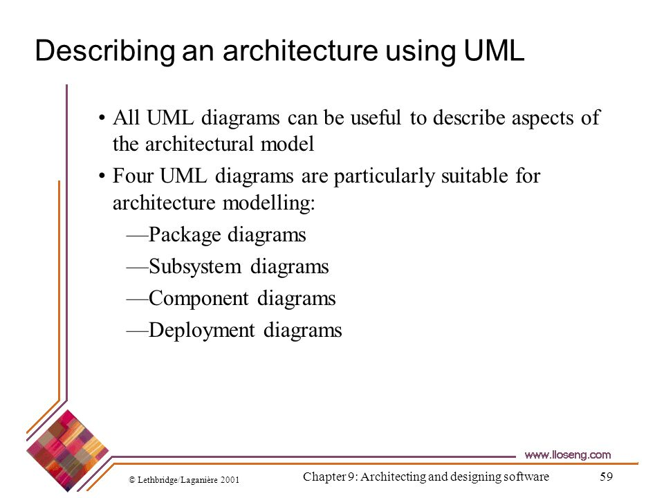 © Lethbridge/Laganière 2001 Chapter 9: Architecting and designing software59 Describing an architecture using UML All UML diagrams can be useful to de