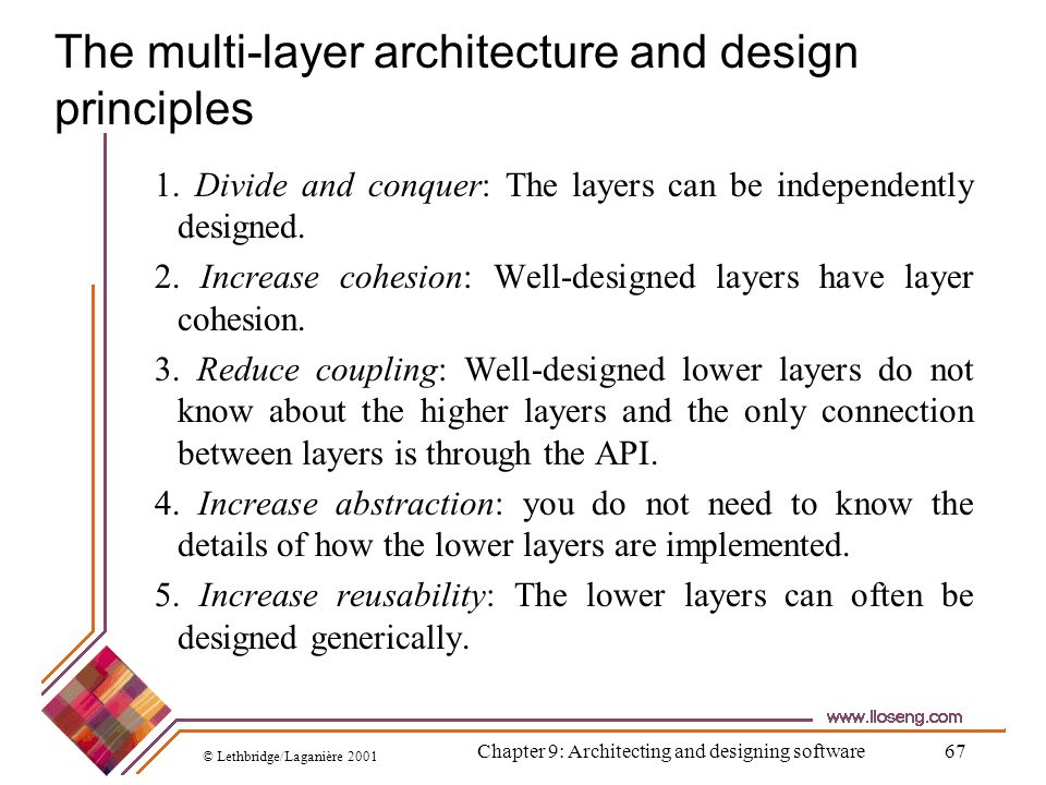 © Lethbridge/Laganière 2001 Chapter 9: Architecting and designing software67 The multi-layer architecture and design principles 1. Divide and conquer: