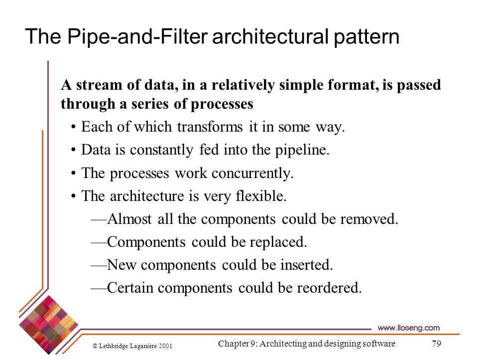 © Lethbridge/Laganière 2001 Chapter 9: Architecting and designing software79 The Pipe-and-Filter architectural pattern A stream of data, in a relative