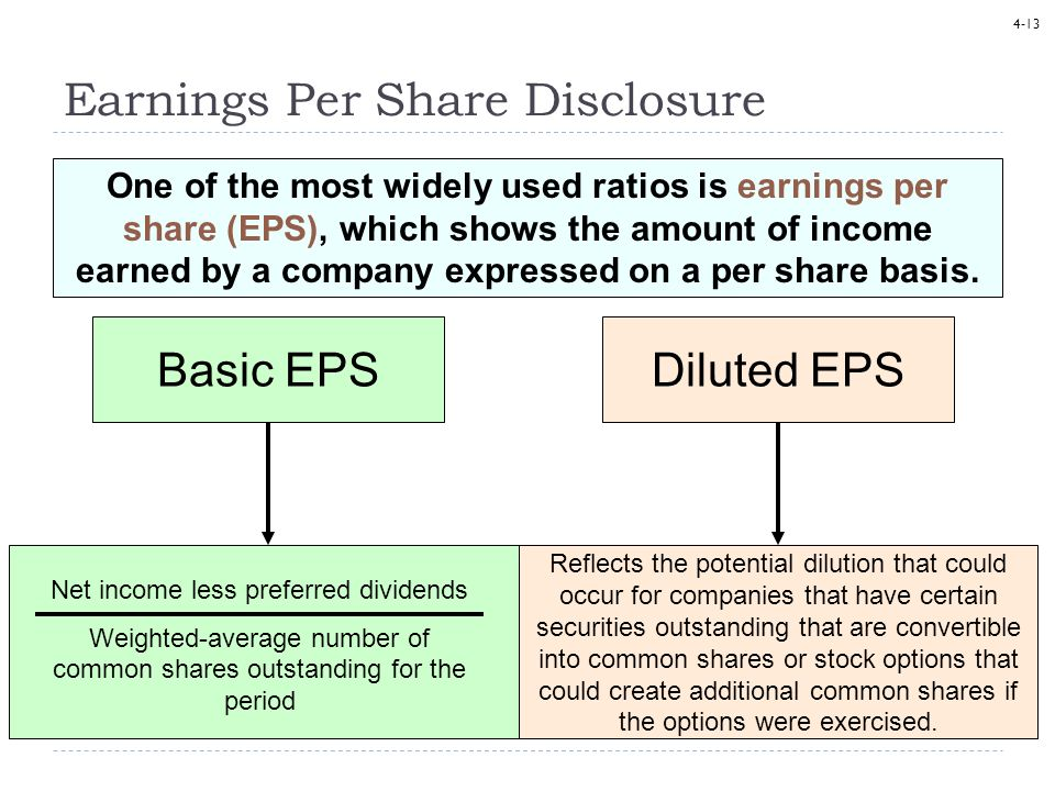 4-13 Earnings Per Share Disclosure One of the most widely used ratios is earnings per share (EPS), which shows the amount of income earned by a compan