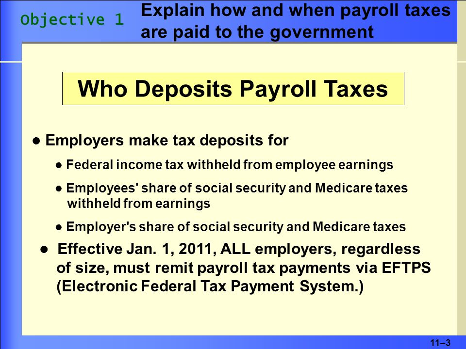 11–3 Employers make tax deposits for Federal income tax withheld from employee earnings Employees share of social security and Medicare taxes withheld from earnings Employer s share of social security and Medicare taxes Effective Jan.