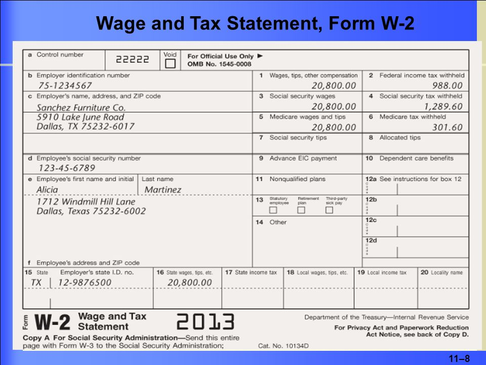 11–8 Wage and Tax Statement, Form W-2