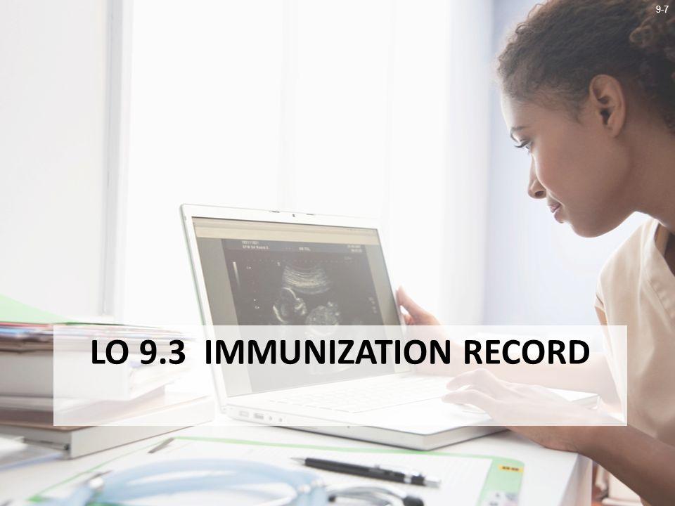 9-7 LO 9.3 IMMUNIZATION RECORD