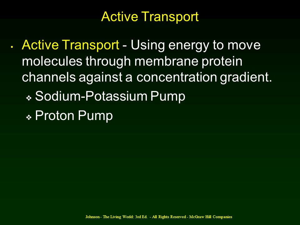 Johnson - The Living World: 3rd Ed. - All Rights Reserved - McGraw Hill Companies Active Transport Active Transport - Using energy to move molecules t