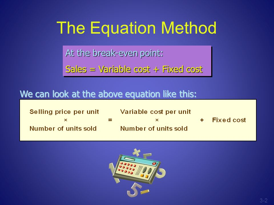 3-2 The Equation Method At the break-even point: Sales = Variable cost + Fixed cost At the break-even point: Sales = Variable cost + Fixed cost We can