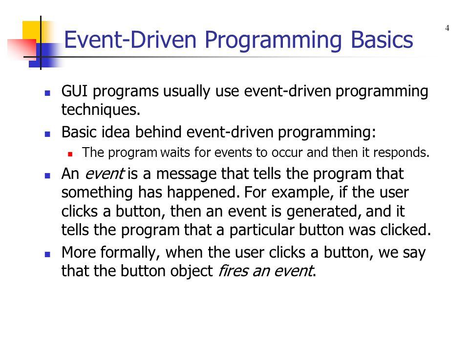 Event-Driven Programming Basics GUI programs usually use event-driven programming techniques.