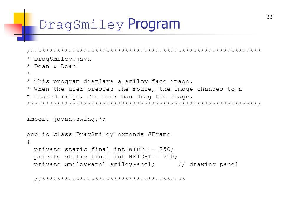 DragSmiley Program /************************************************************* * DragSmiley.java * Dean & Dean * * This program displays a smiley face image.