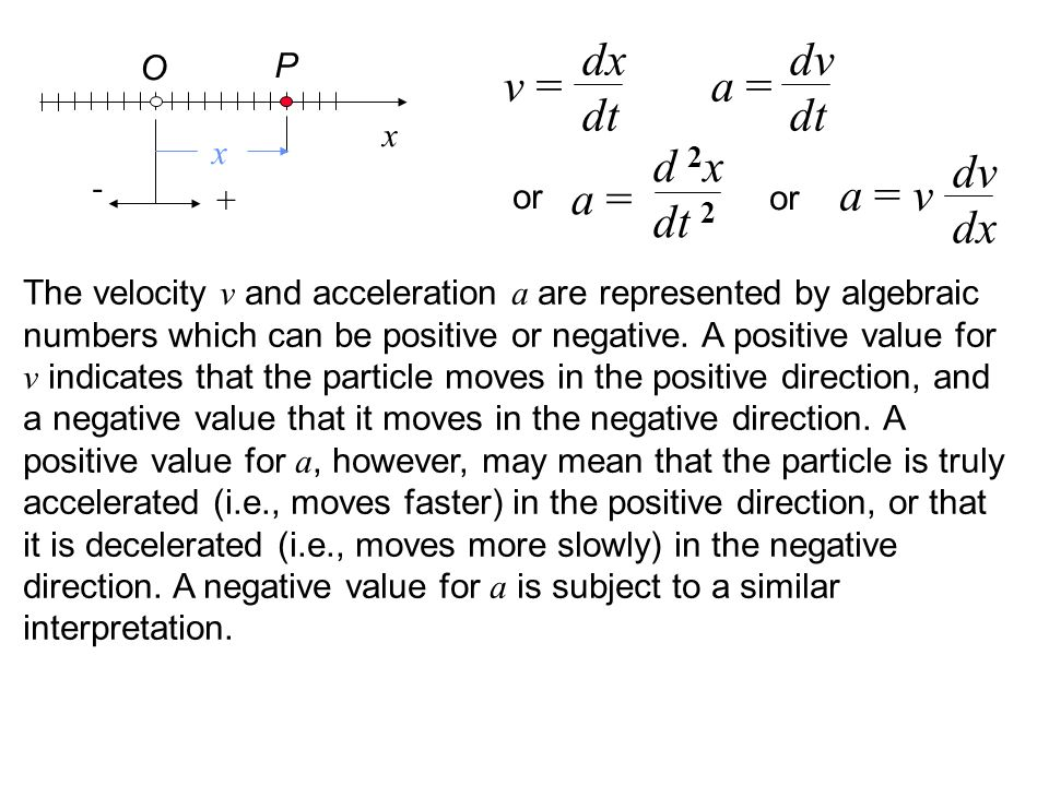 x P O x v = dx dt a = dv dt or a = d 2 x dt 2 a = v dv dx or The velocity v and acceleration a are represented by algebraic numbers which can be positive or negative.