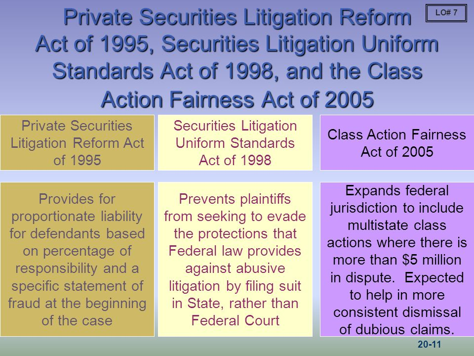 Private Securities Litigation Reform Act of 1995, Securities Litigation Uniform Standards Act of 1998, and the Class Action Fairness Act of 2005 Private Securities Litigation Reform Act of 1995 Provides for proportionate liability for defendants based on percentage of responsibility and a specific statement of fraud at the beginning of the case Securities Litigation Uniform Standards Act of 1998 Prevents plaintiffs from seeking to evade the protections that Federal law provides against abusive litigation by filing suit in State, rather than Federal Court LO# 7 Class Action Fairness Act of 2005 Expands federal jurisdiction to include multistate class actions where there is more than $5 million in dispute.