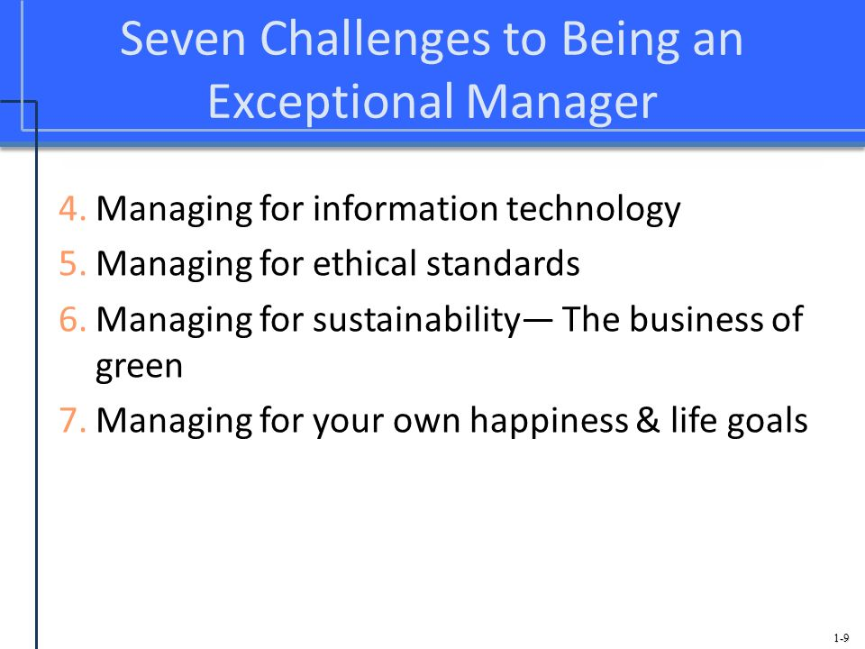 1-9 Seven Challenges to Being an Exceptional Manager 4.Managing for information technology 5.Managing for ethical standards 6.Managing for sustainabil