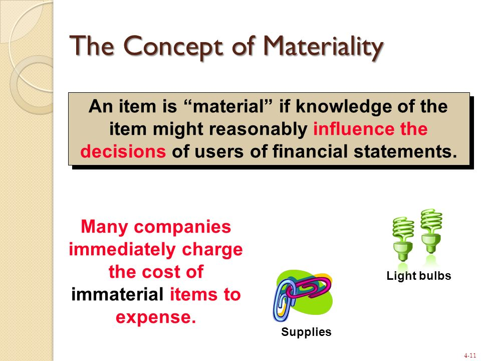 4-11 An item is material if knowledge of the item might reasonably influence the decisions of users of financial statements. Supplies Light bulbs Many