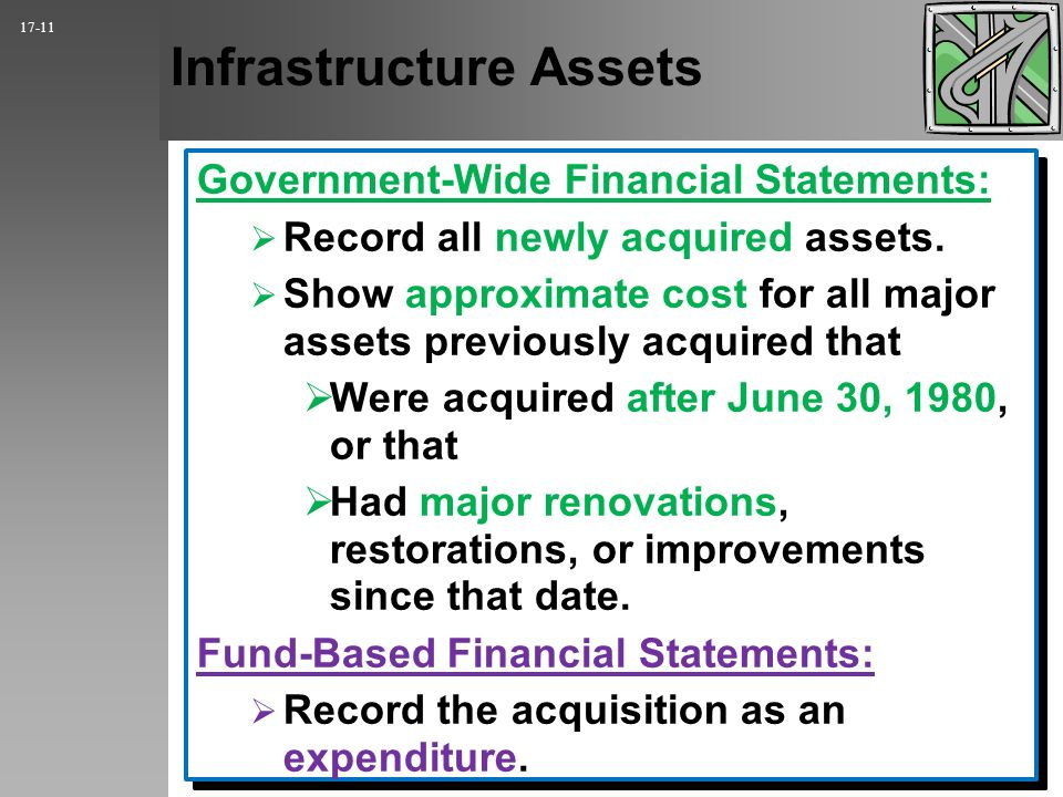 Infrastructure Assets Government-Wide Financial Statements: Record all newly acquired assets.