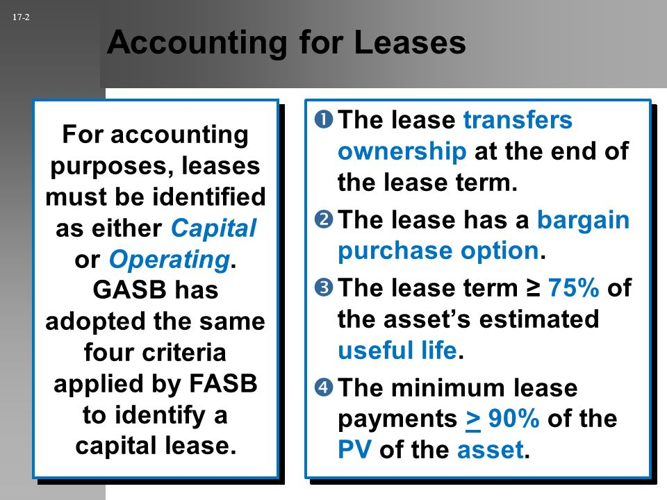 Accounting for Leases The lease transfers ownership at the end of the lease term.