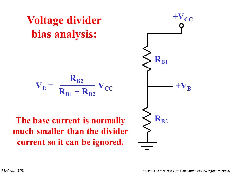 McGraw-Hill © 2008 The McGraw-Hill Companies Inc. All rights reserved. +V CC RLRL RERE R B1 R B2 Voltage divider bias { R B1 and R B2 form a voltage d