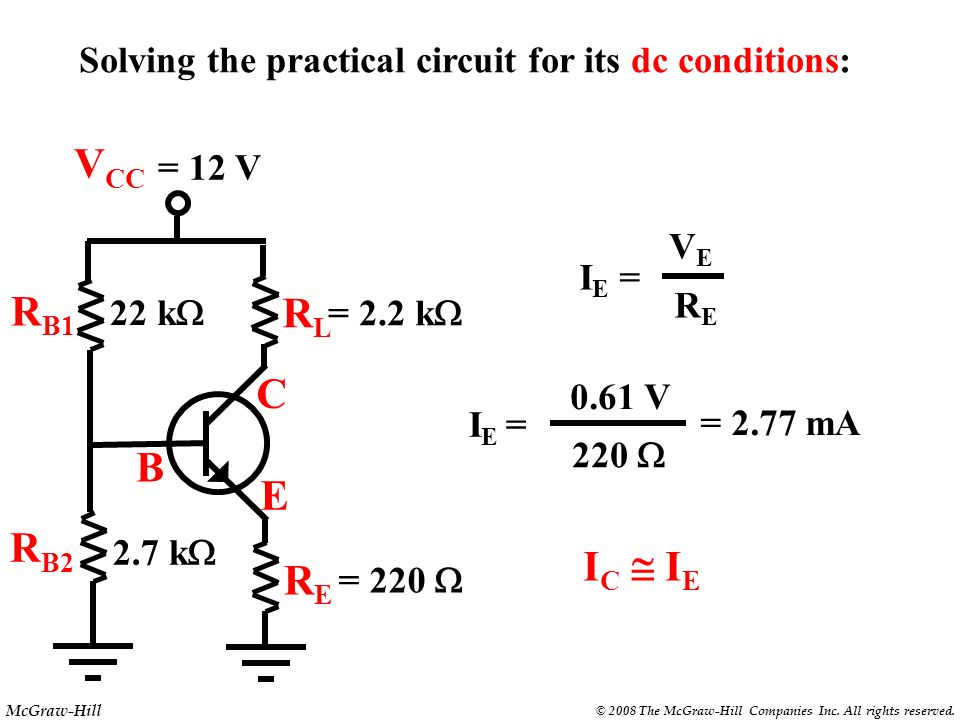 McGraw-Hill © 2008 The McGraw-Hill Companies Inc. All rights reserved. R B1 E B C RLRL V CC R B2 RERE = 220 = 12 V 2.7 k 22 k = 2.2 k Solving the prac
