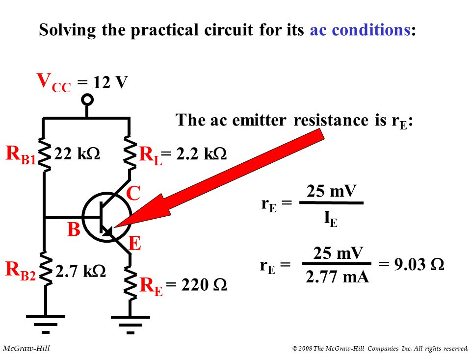 McGraw-Hill © 2008 The McGraw-Hill Companies Inc. All rights reserved. Review of the analysis thus far: 1. Calculate the base voltage using the voltag